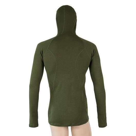 SENSOR MERINO DF pánské triko dl.rukáv s kapucí safari